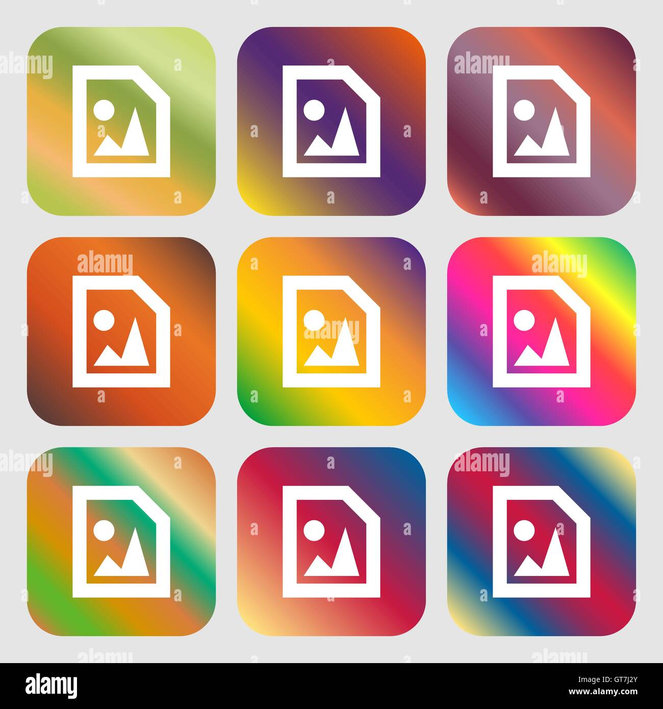 File JPG icon. Nine buttons with bright gradients for beautiful design. Vector - Stock Vector