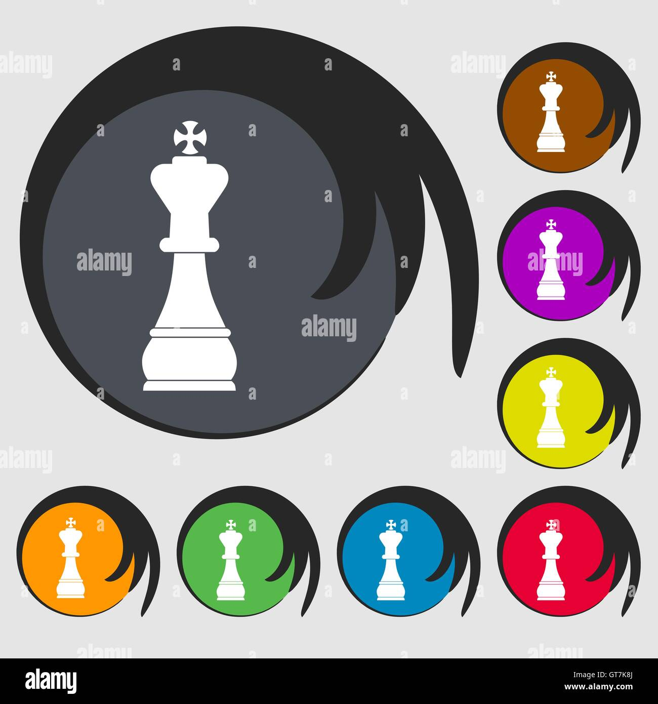 Chess King Sign Icon Symbols On Eight Colored Buttons Vector Stock