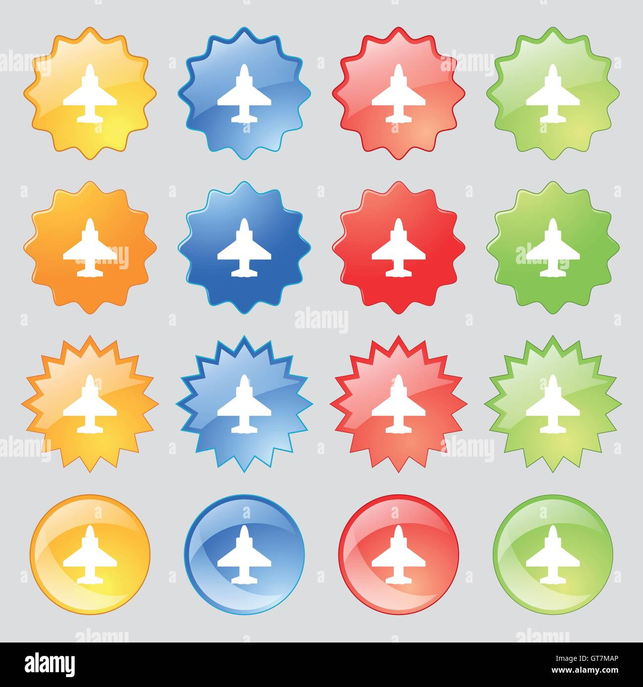 Aircraft or Airplane Icon sign. Big set of 16 colorful modern buttons for your design. Vector - Stock Image