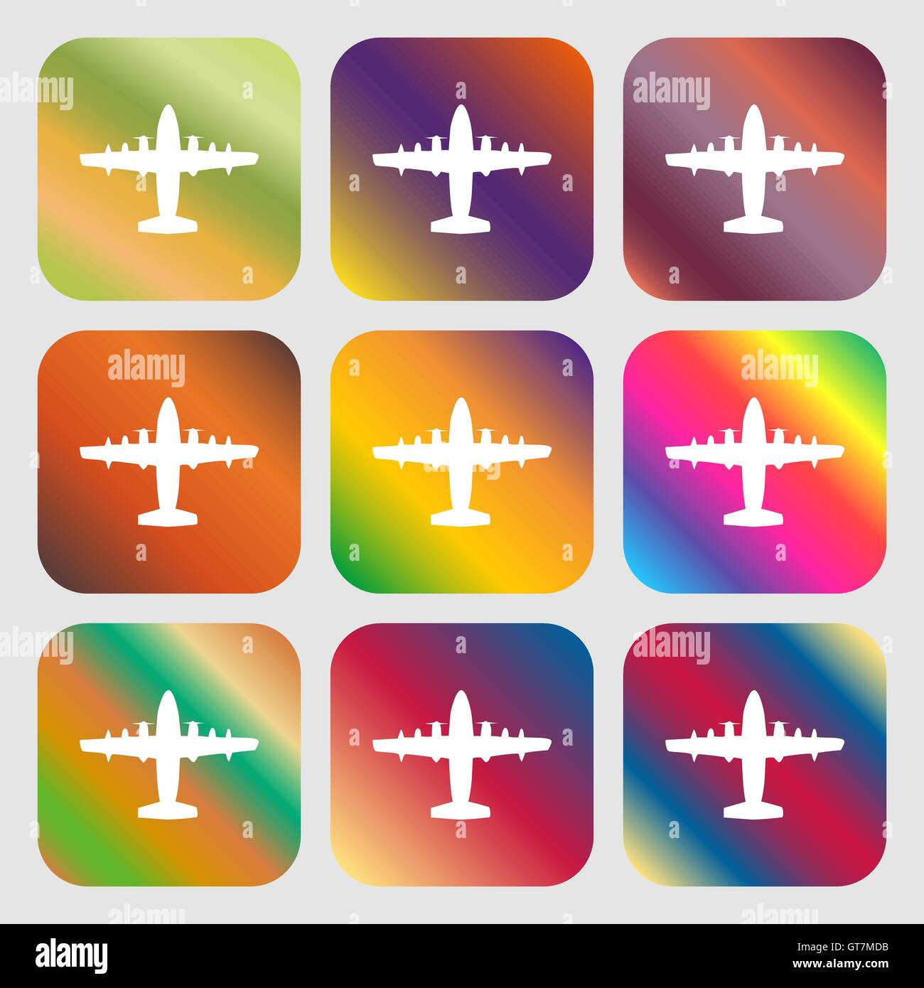 aircraft icon. Nine buttons with bright gradients for beautiful design. Vector - Stock Vector