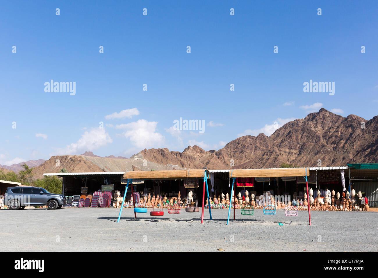 Street stalls at Masafi Friday Market Fujairah UAE - Stock Image