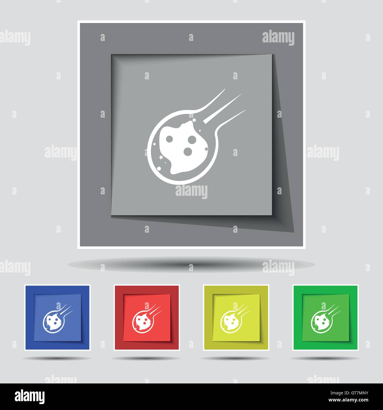 Flame meteorite icon sign on original five colored buttons. Vector - Stock Image
