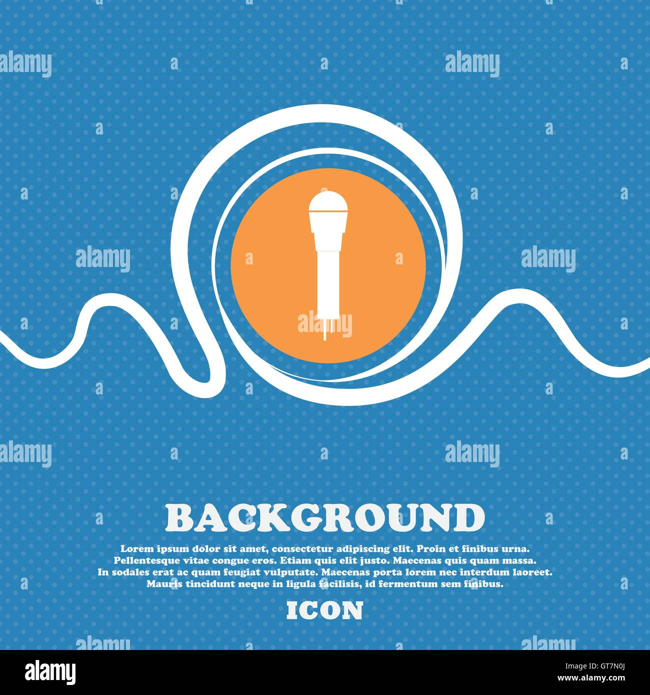 Microphone Icon sign. Blue and white abstract background flecked with space for text and your design. Vector - Stock Vector