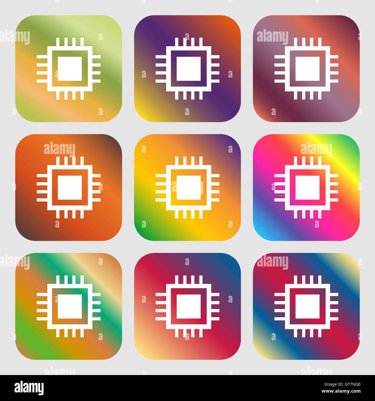 Integrated Circuit Card Stock Vector Images Alamy Circuits And Symbol Technology Scheme Circle Nine Buttons With Bright Gradients For