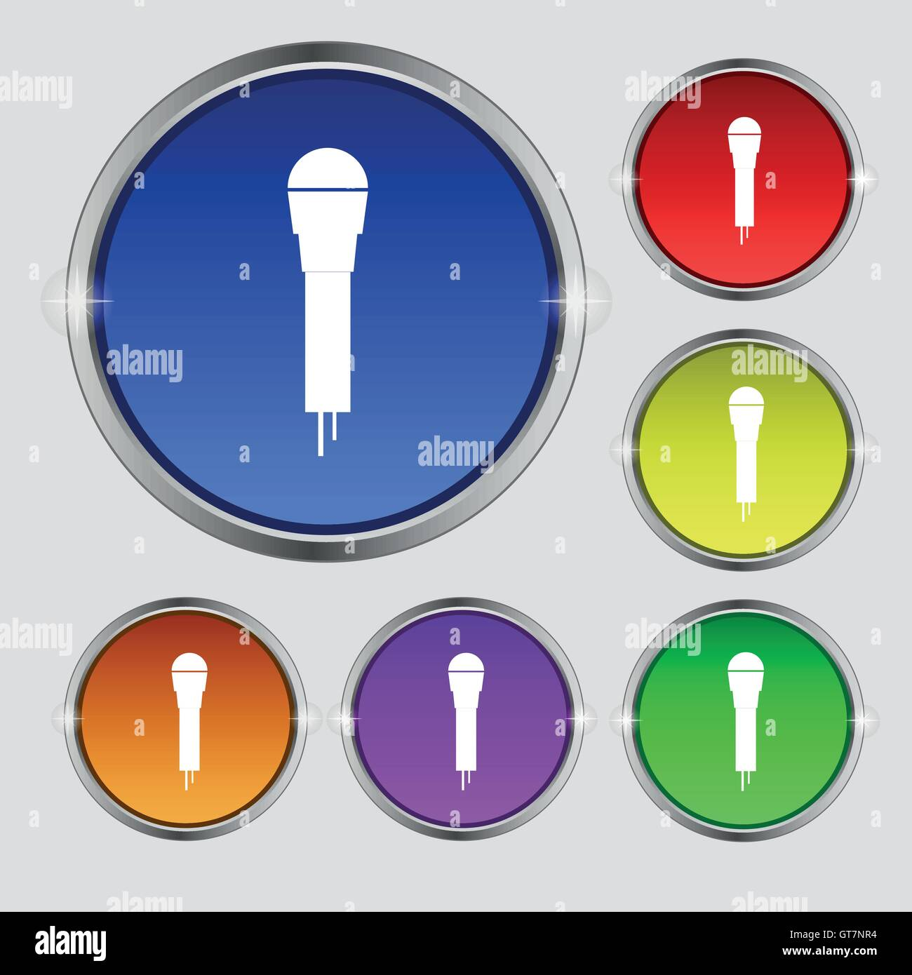Microphone Icon sign. Round symbol on bright colourful buttons. Vector Stock Vector