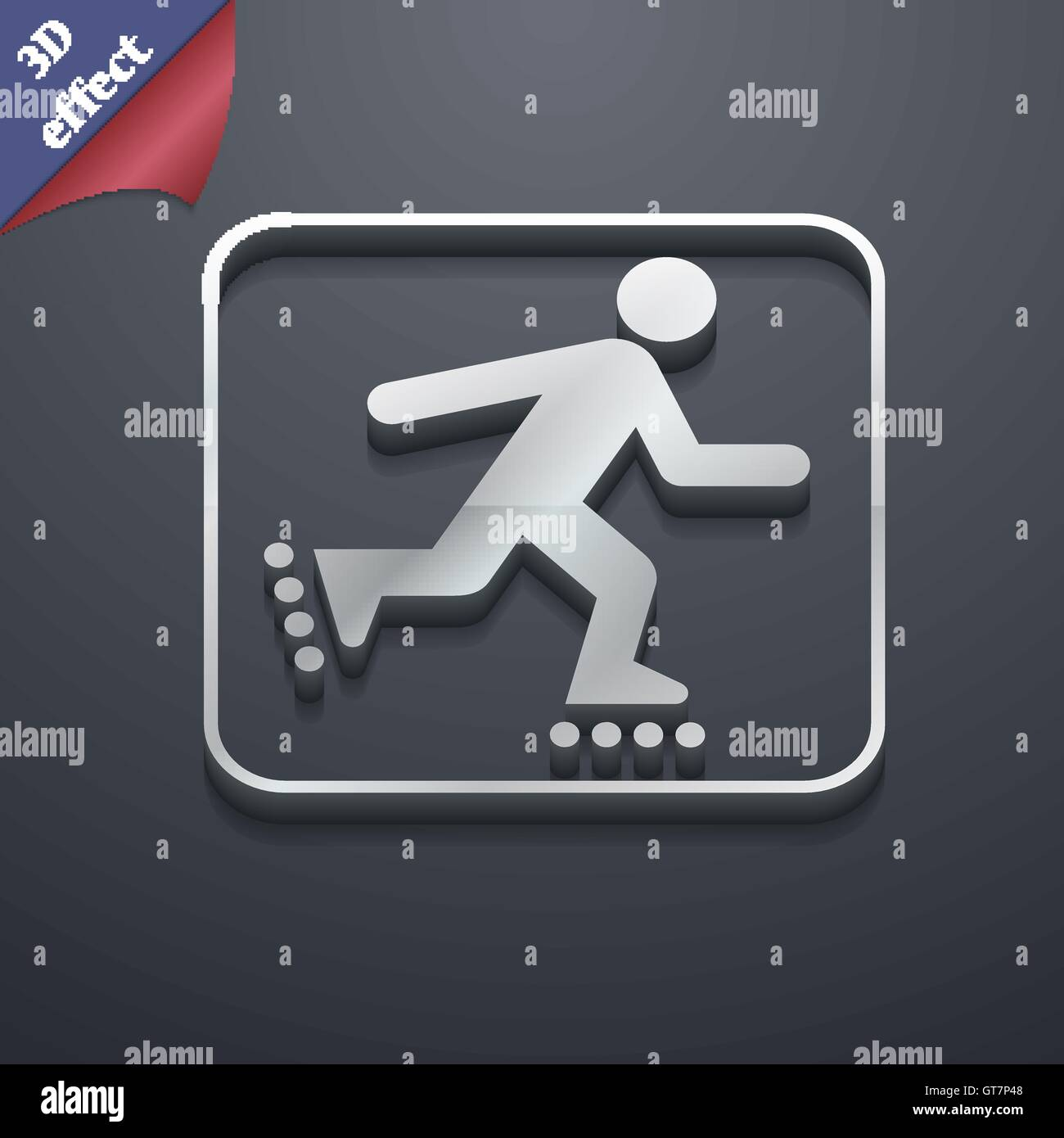 Roller Skating Icon Symbol 3d Style Trendy Modern Design With