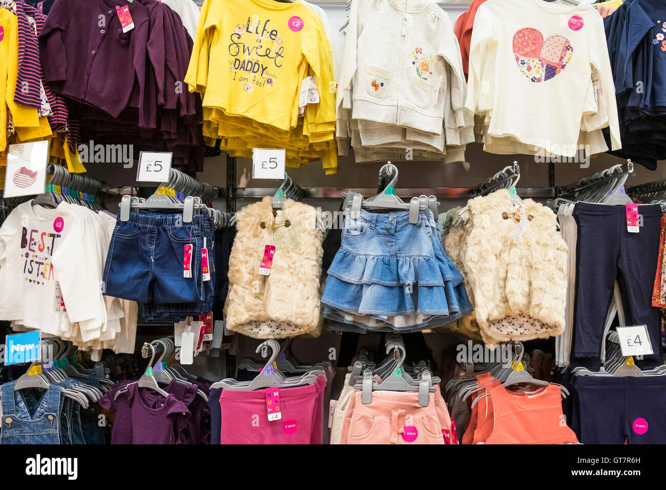Childrens clothing on sale in a Morrisons supermarket. - Stock Image