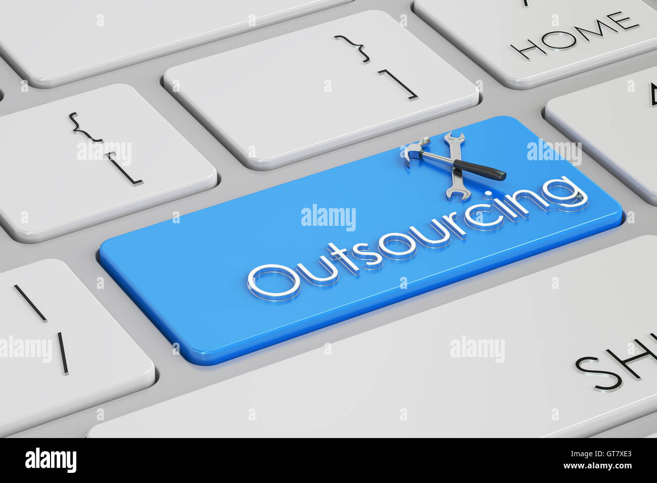 outsourcing concept on keyboard, 3D rendering - Stock Image