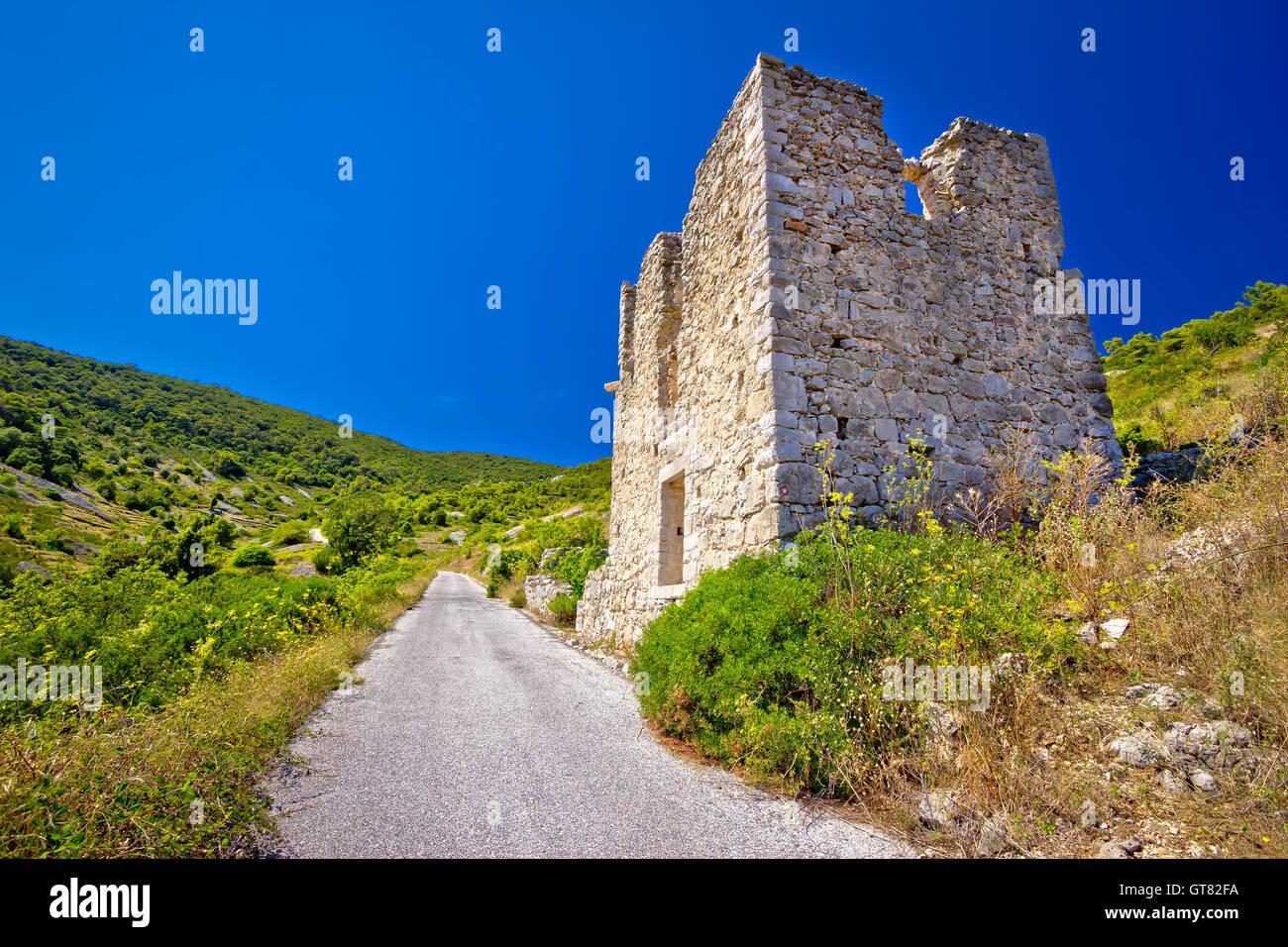 Island Vis military zone old guard tower ruin, Dalmatia, Croatia Stock Photo