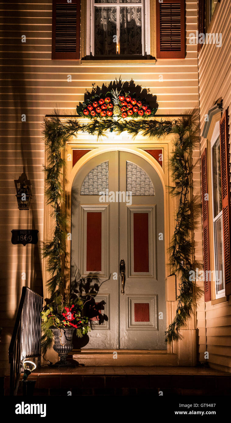 Vintage Victorian house front door colour at night with