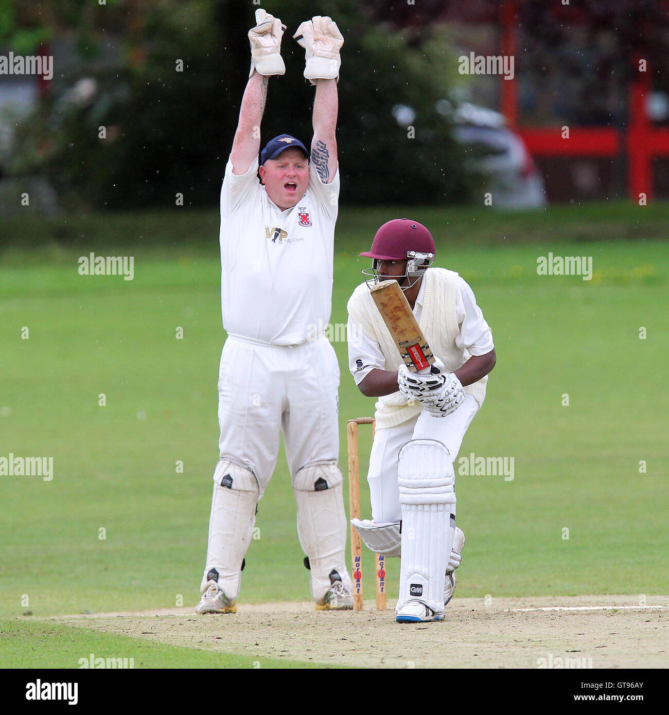 Paul Murray of Hornchurch appeals for the wicket of Jamal Francis - Hornchurch CC vs Romford & Gidea Park CC - Stock Image