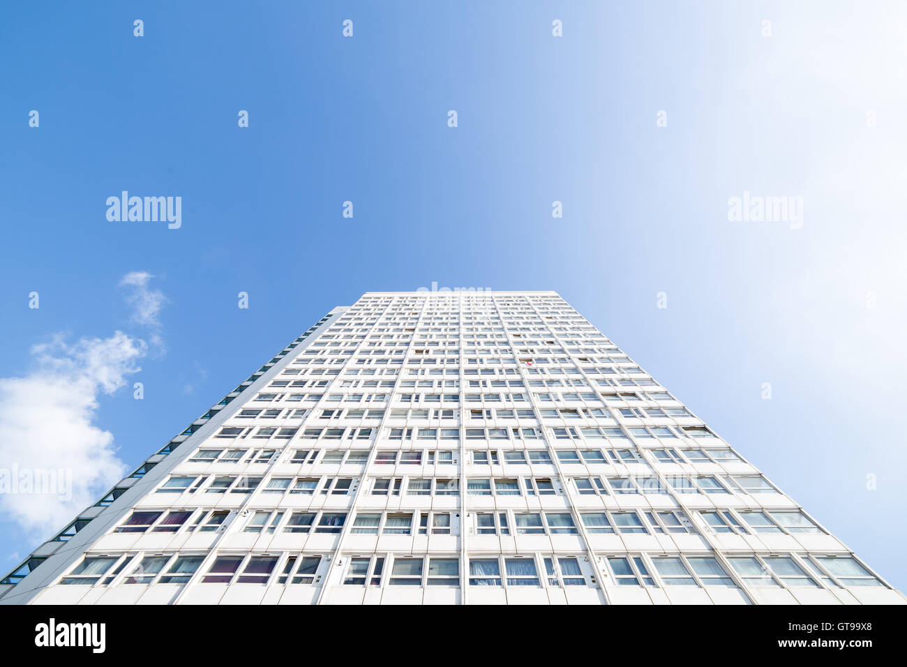 Eddystone Tower high-rise building. A tower block part of the Pepys Estate council housing buildings in south east - Stock Image