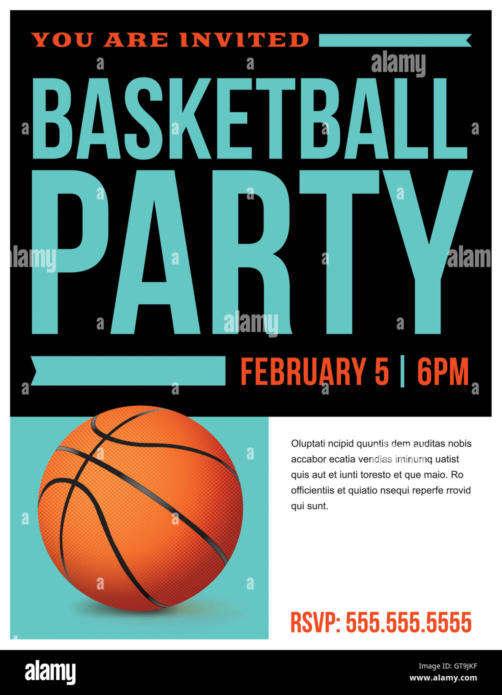 A flyer for a basketball party invitation template. Vector EPS 10 ...