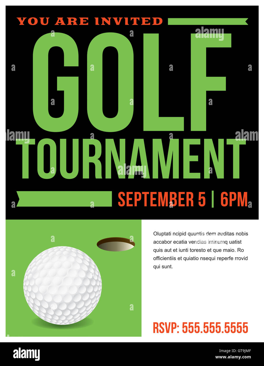 A flyer for a golf tournament invitation template  Vector