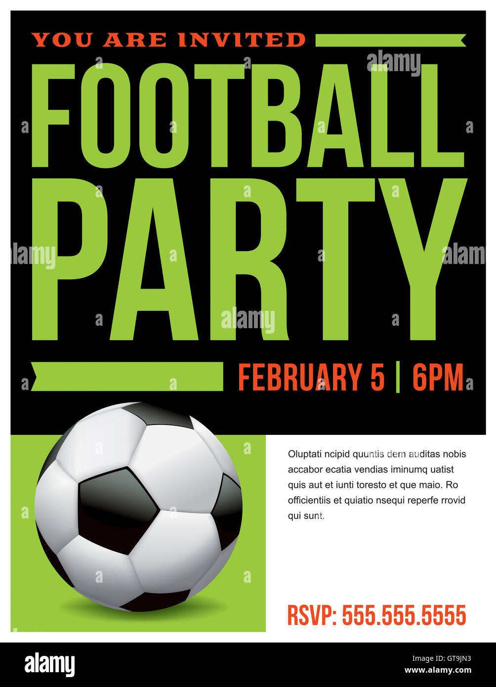 a flyer for a soccer football party invitation template vector eps