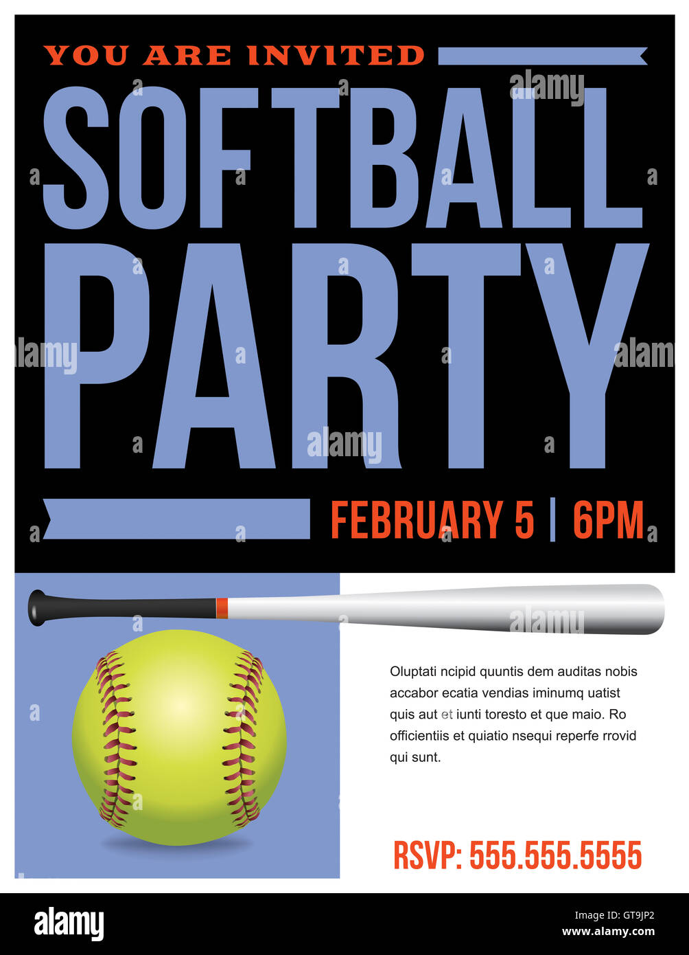 A flyer for a softball party invitation template. Vector EPS 10 available. Stock Photo