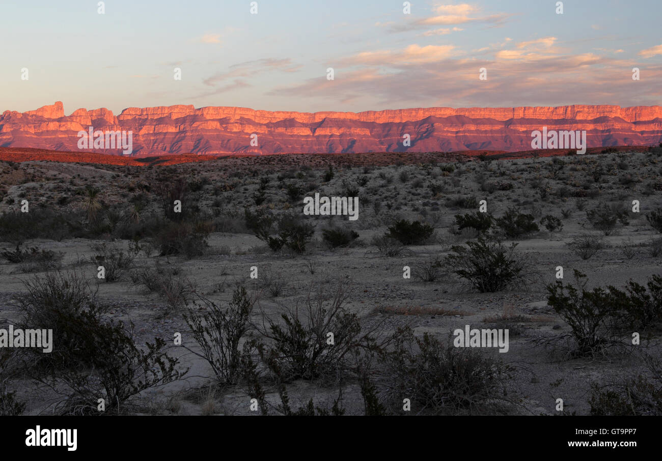 Beautiful Sunset over the Sierra Del Carmen Mountains in Big Bend National Park, Texas Stock Photo