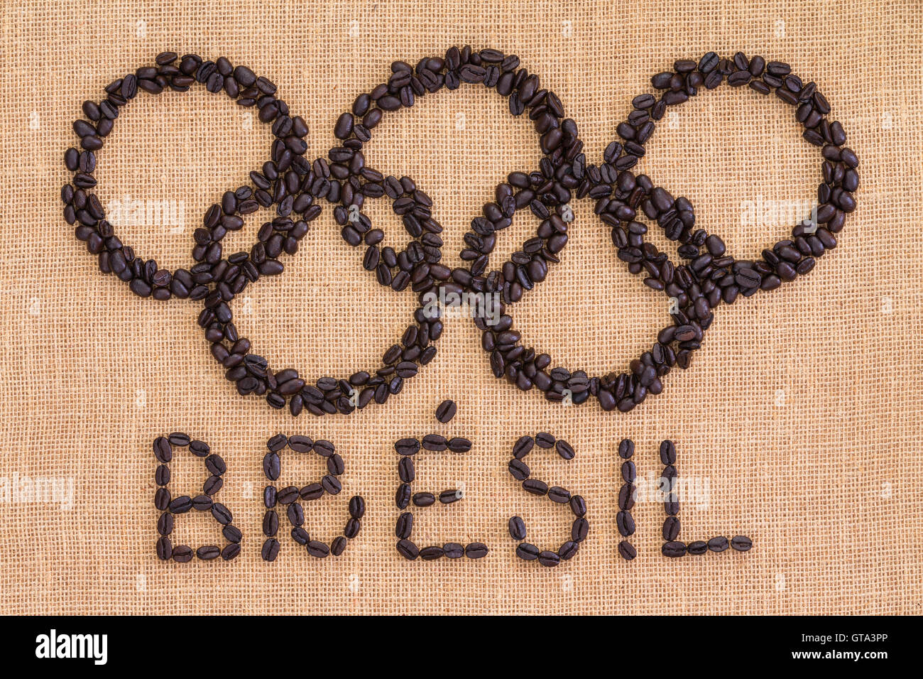 Top Down View On Brazil Olympics French Text And Symbol Made From