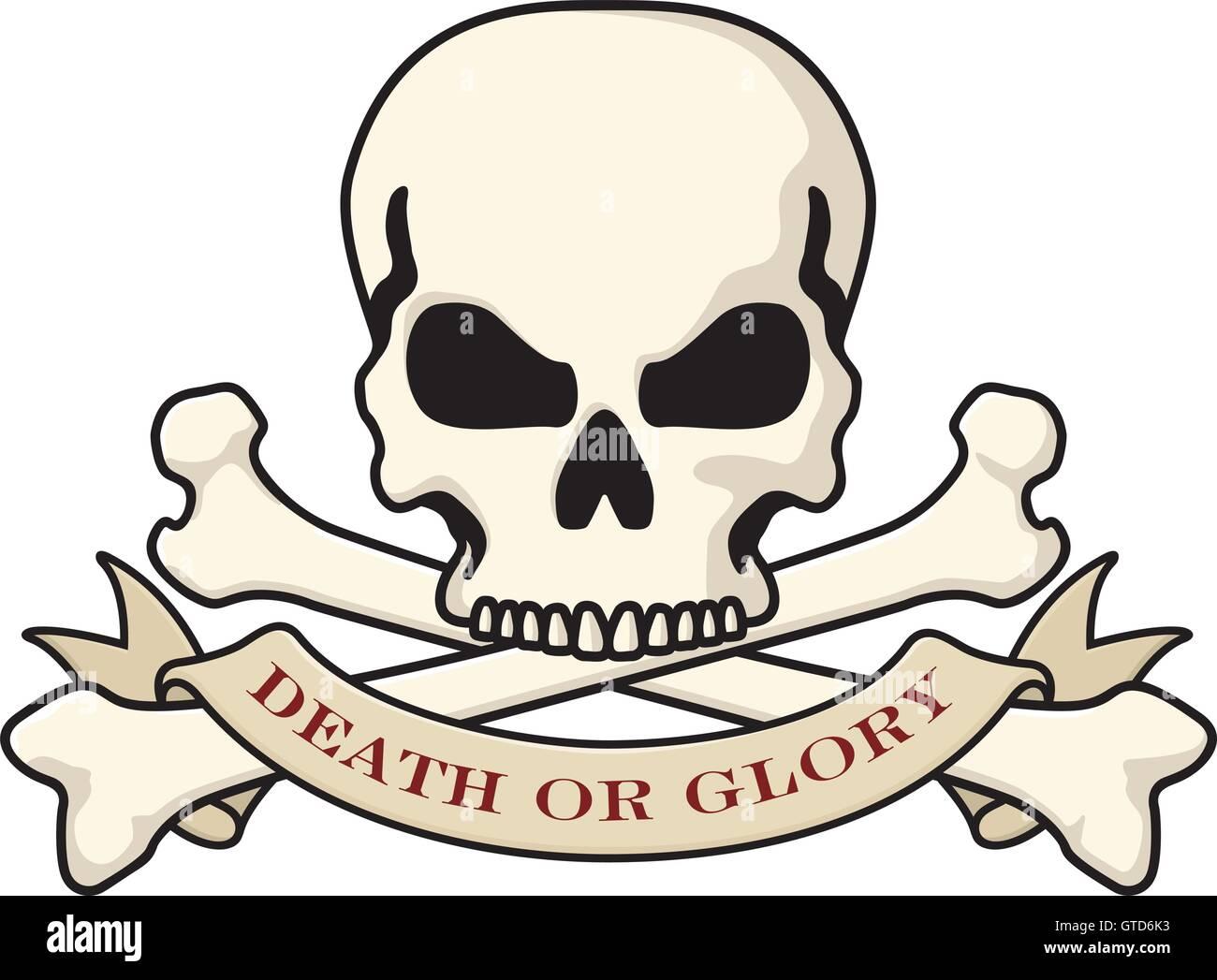 Death or Glory Skull vector logo Stock Vector