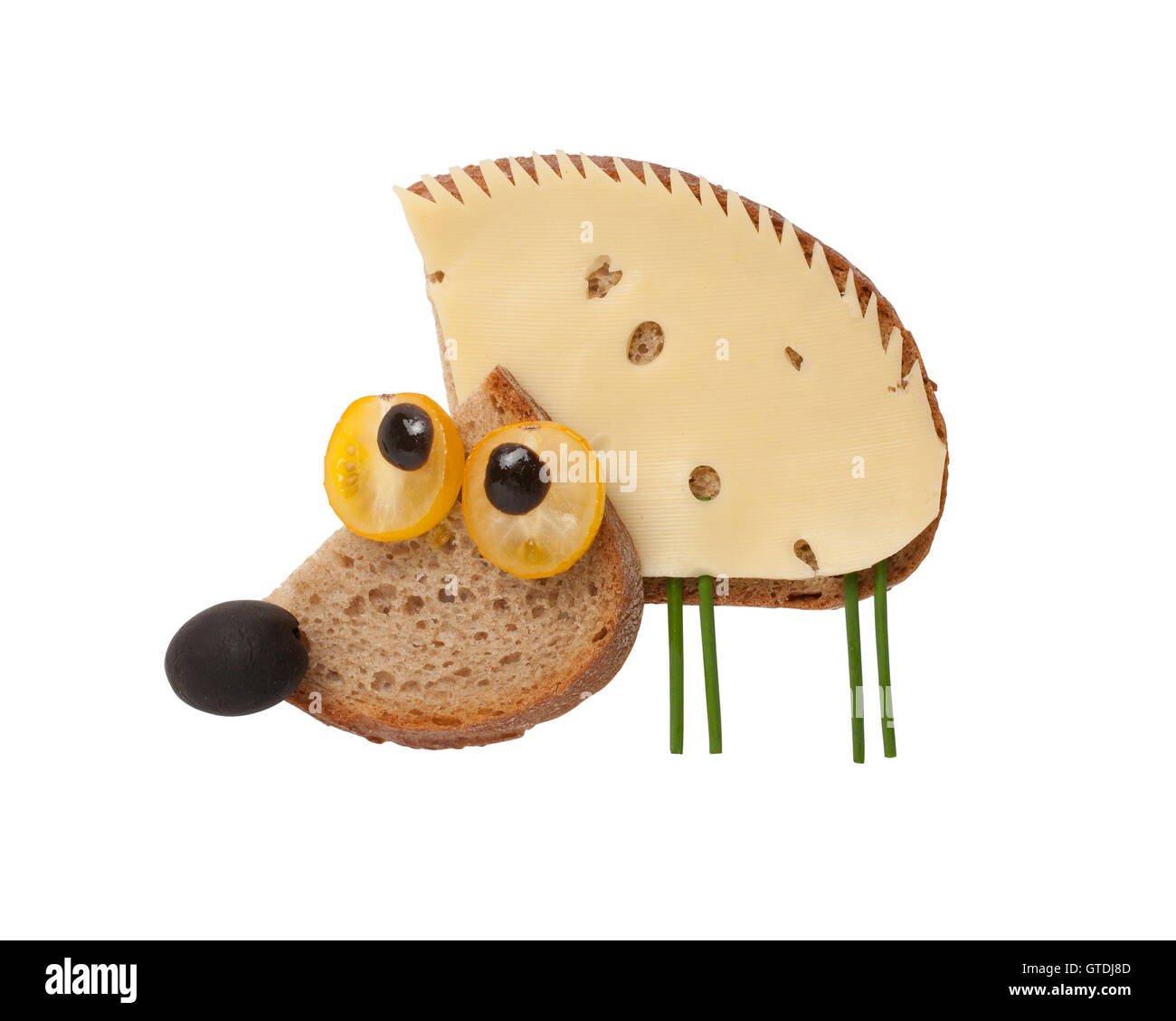 Funny hedgehog made of bread and cheese on isolated background - Stock Image