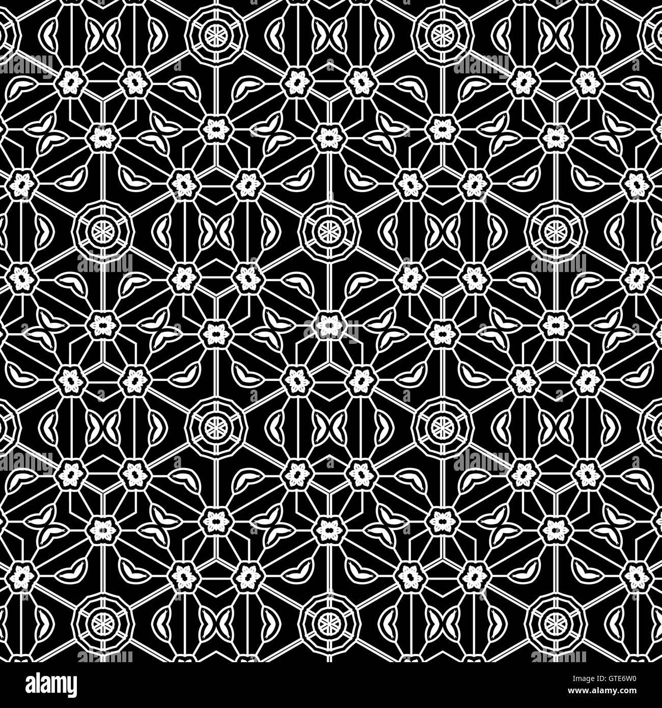 Primitive simple grey retro lace pattern with flowers and circles. - Stock Image