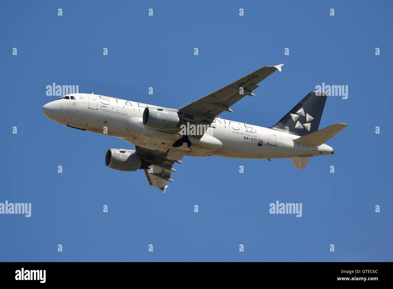 Croatia Airlines Airbus A319-112 9A-CTI departing from Heathrow Airport, London - Stock Image