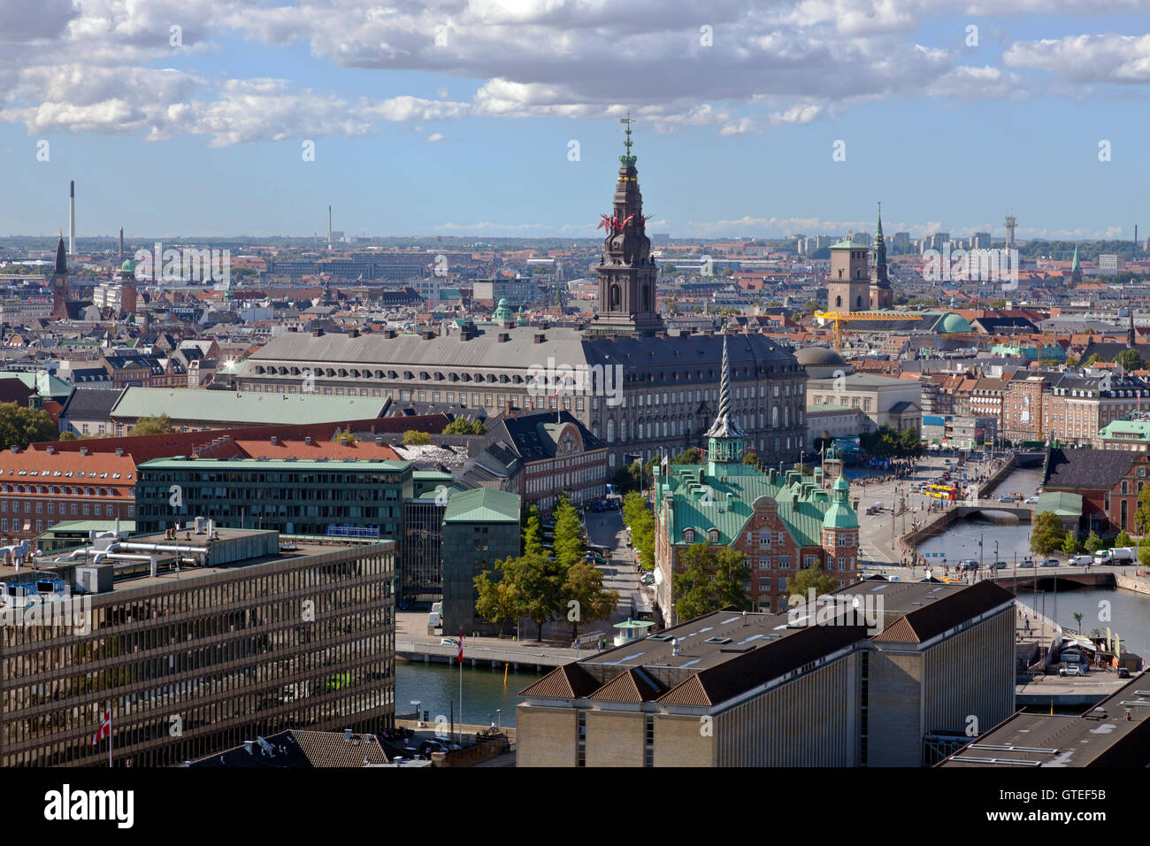 Aerial view of Christiansborg Castle and the Old Stock Exchange and the area around Slotsholmen, the Slotsholm island. - Stock Image