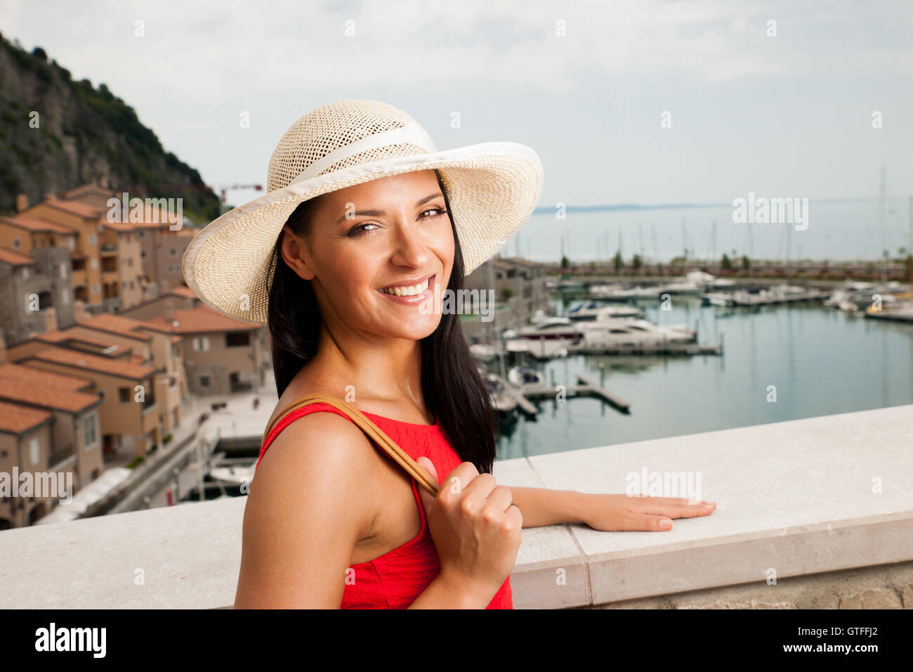 Hot Un Stock >> Woman Walks A City On The Beach On Hot Summer Day Un Beautiful Red
