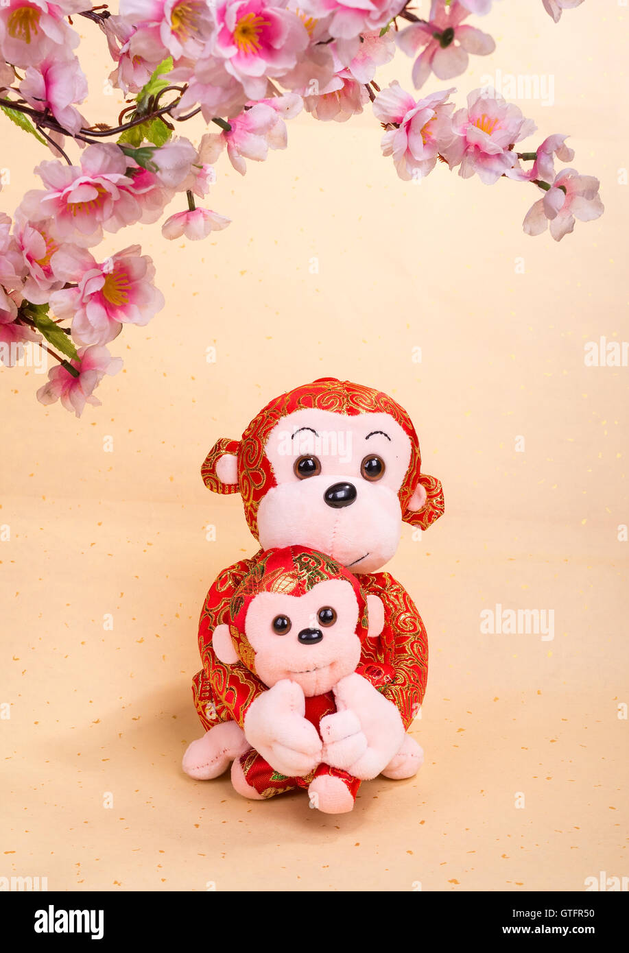 Chinese lunar new year ornaments toy of monkey on festive Stock ...