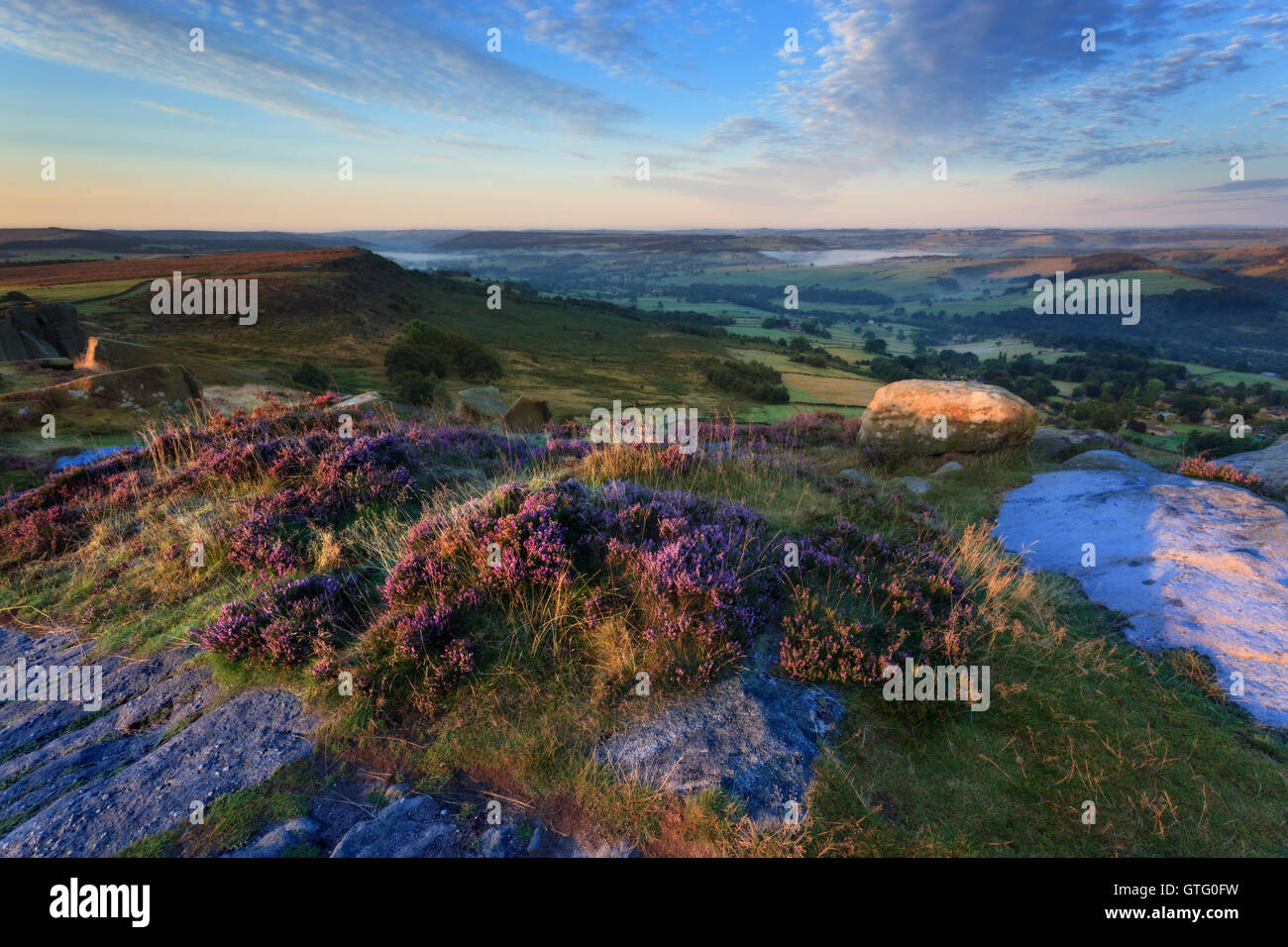 Curbar Edge in the Peak District - Stock Image