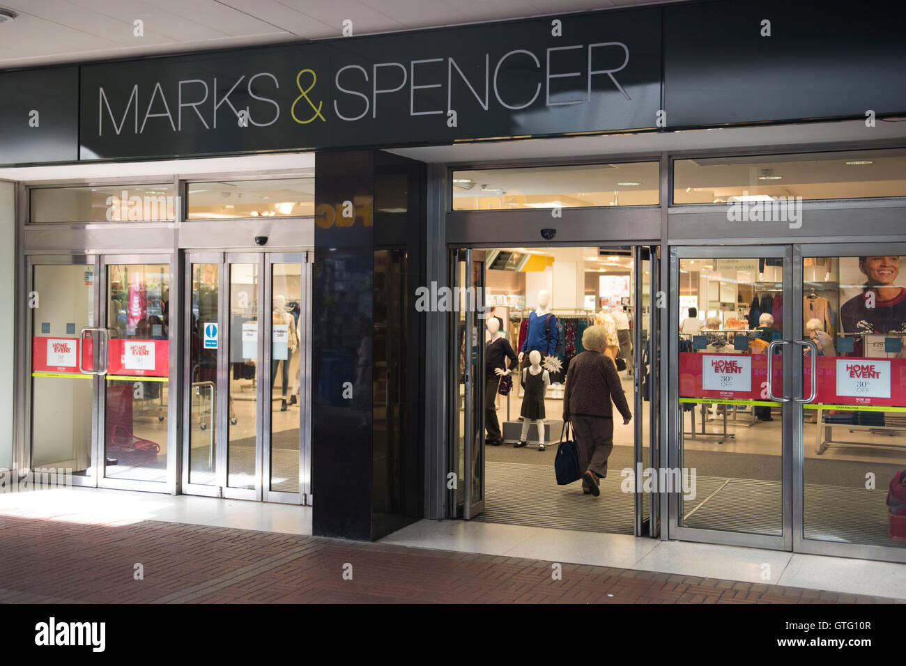 Marks and Spencer (m&s) exterior store sign logo in Cwmbran, South Wales. - Stock Image