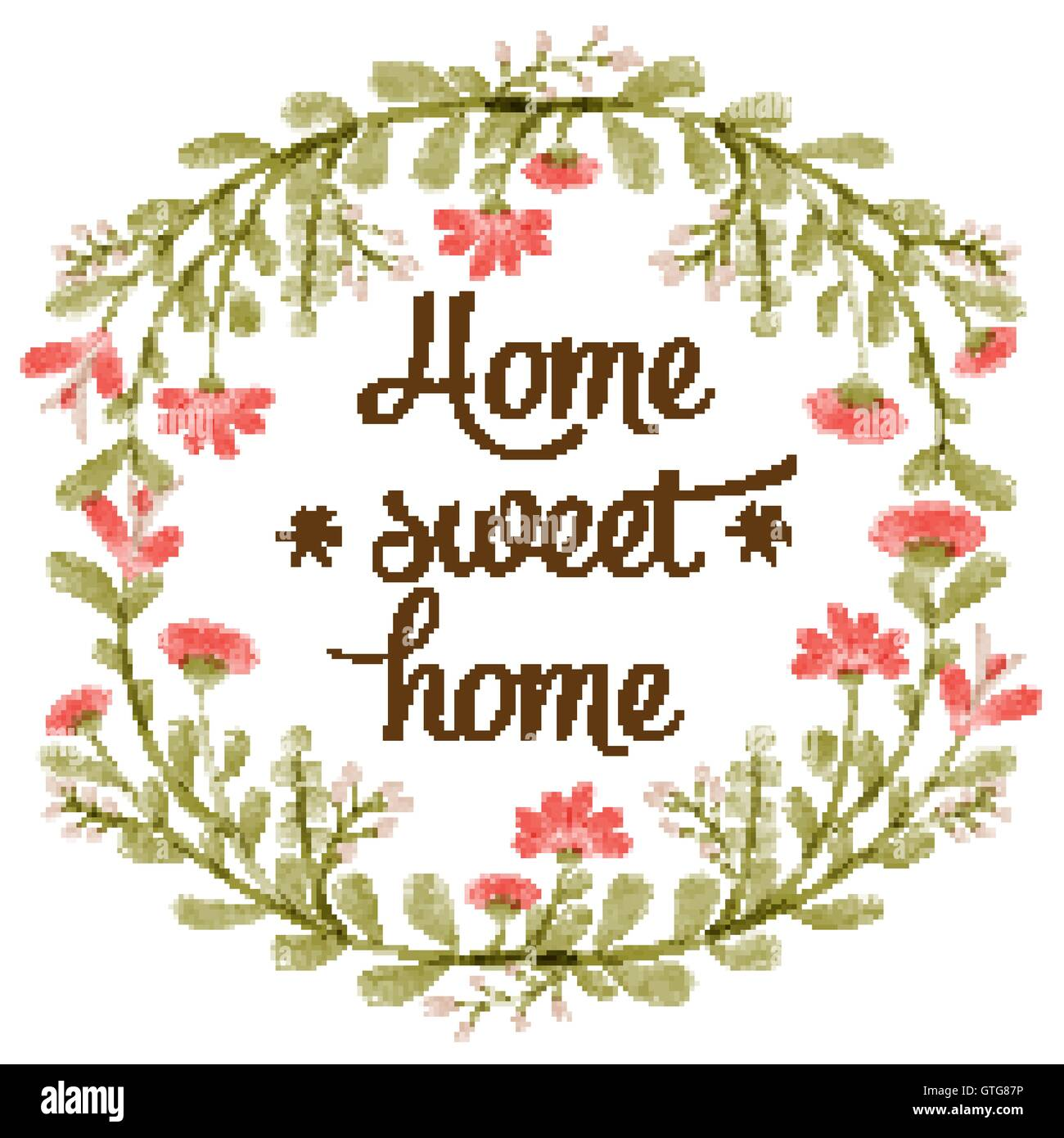 'Home sweet home' background with delicate watercolor flowers, vector format - Stock Vector