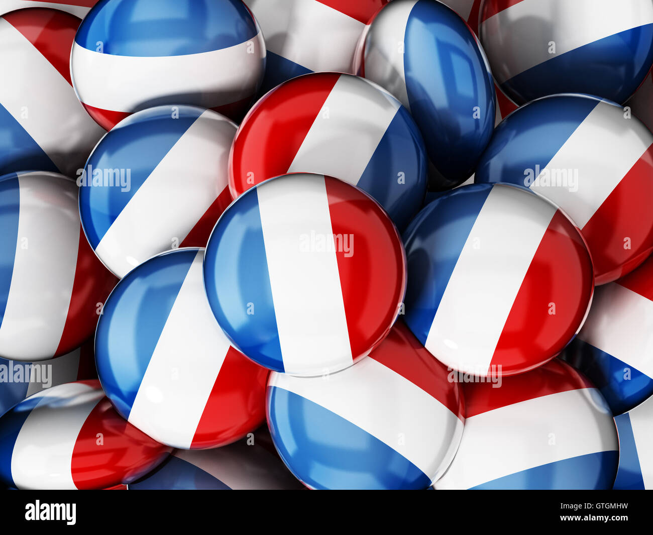 Stack of buttons with French flag. 3D illustration. - Stock Image