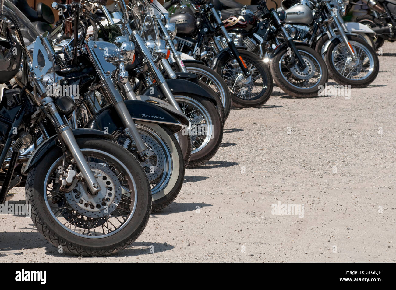 Motorbikes Parked in a Row - Stock Image