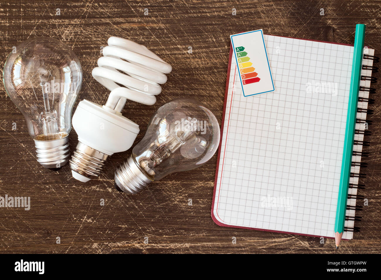 Three different light bulbs and notebook with energy efficiency label - Stock Image