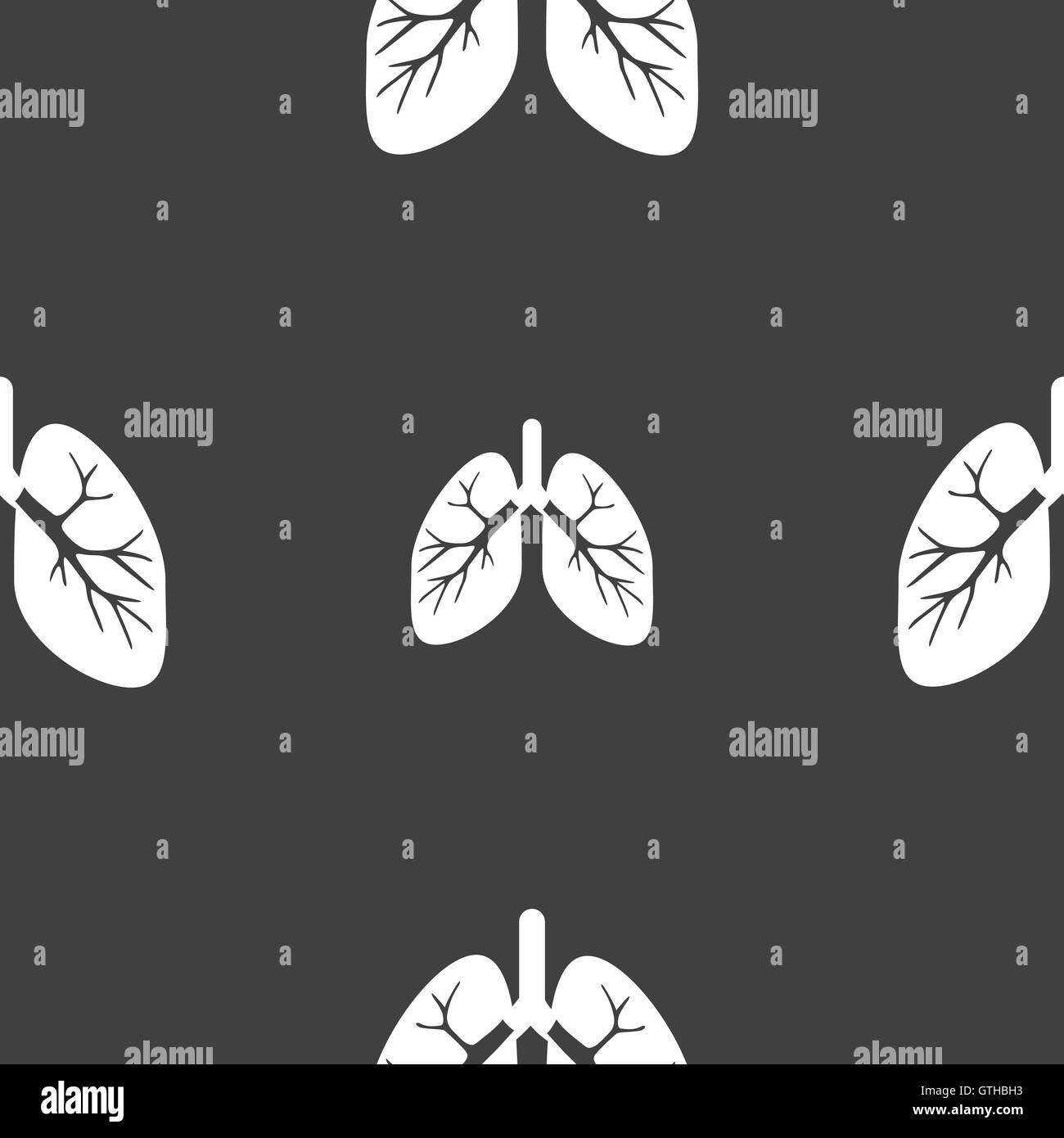 Lungs sign. Seamless pattern on a gray background. Vector - Stock Image