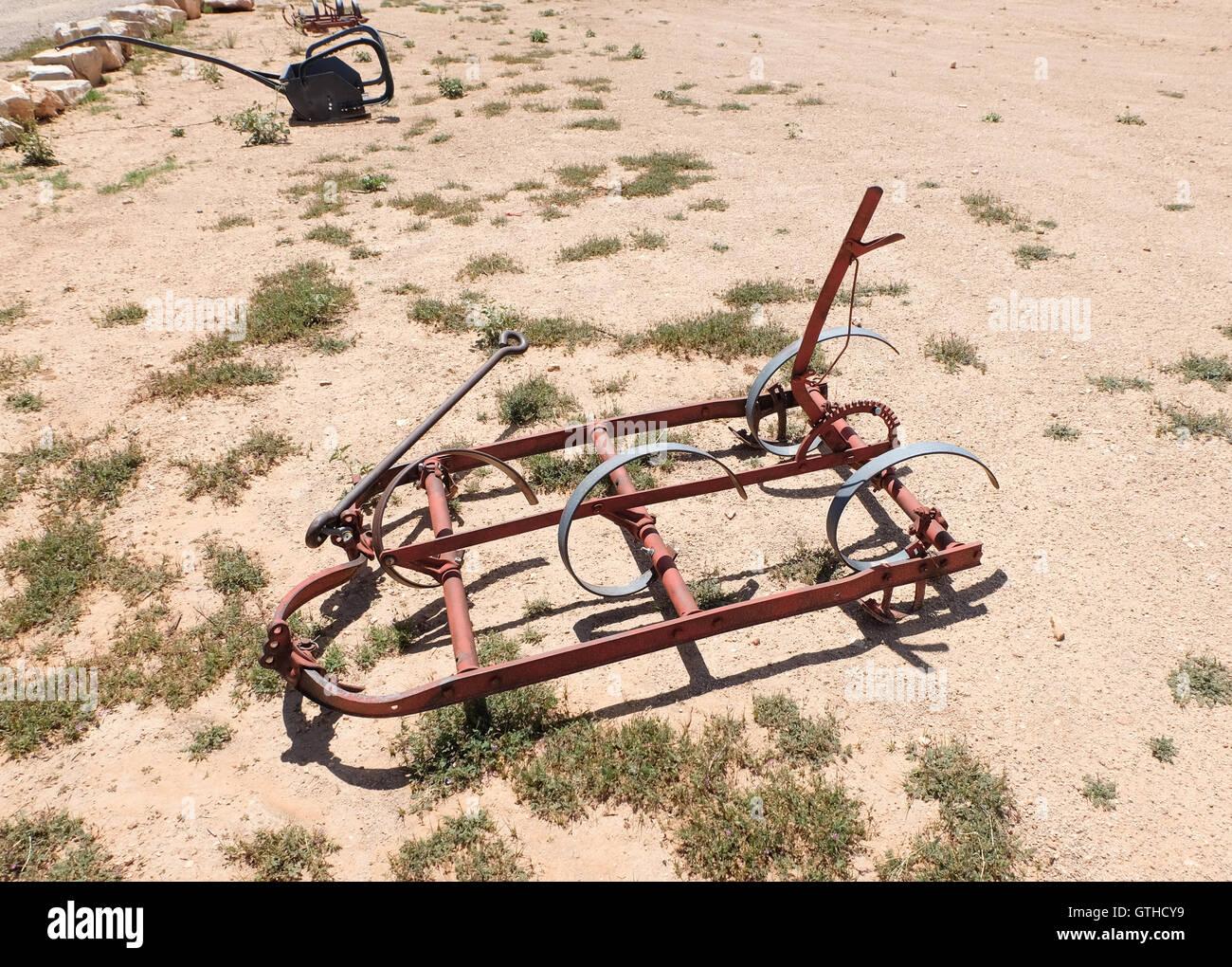 Plow on a groung at Hualapai Ranch at Grand Canyon, Arizona, USA - Stock Image
