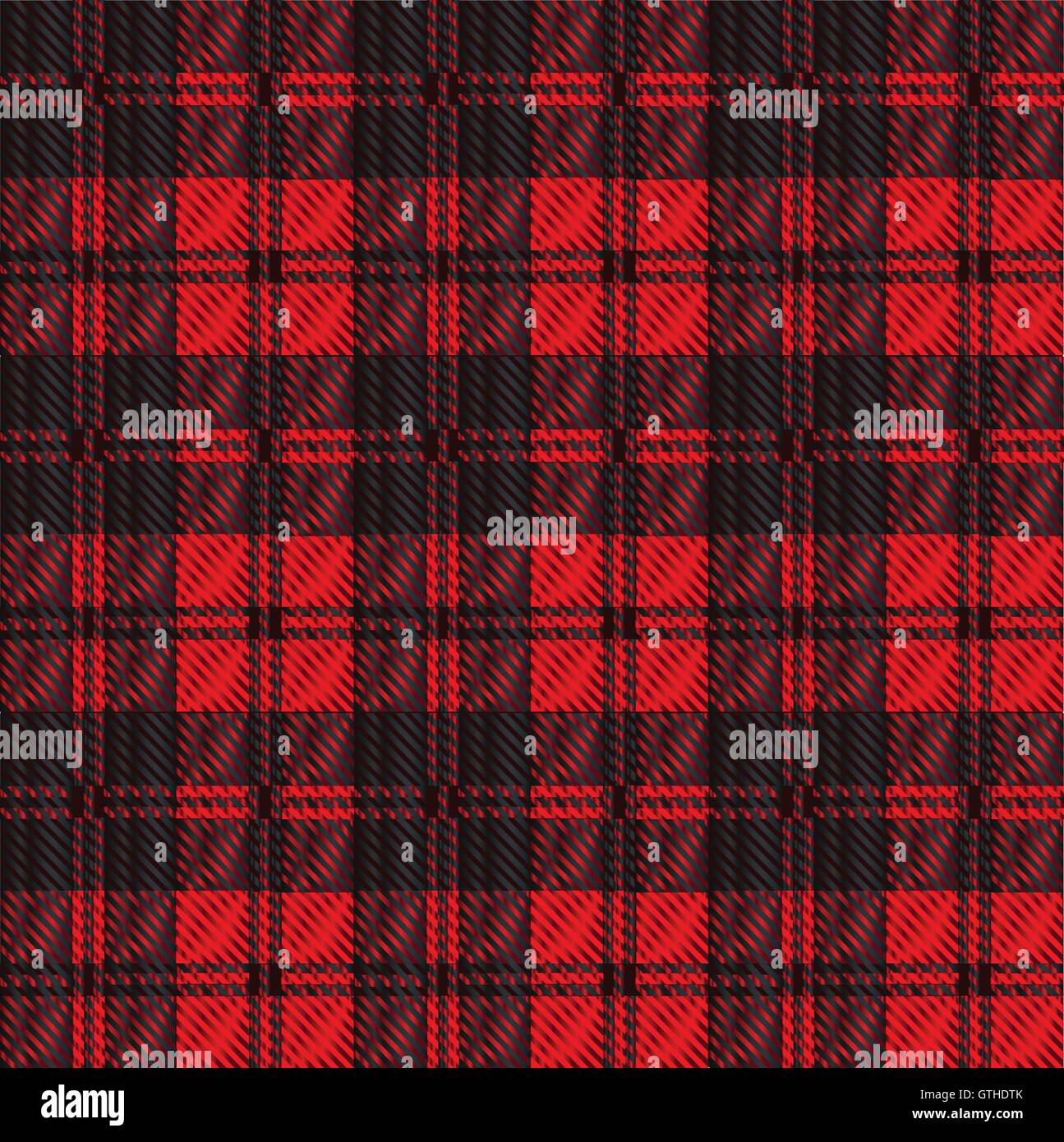 Red and black tartan wool weaved material - Stock Vector