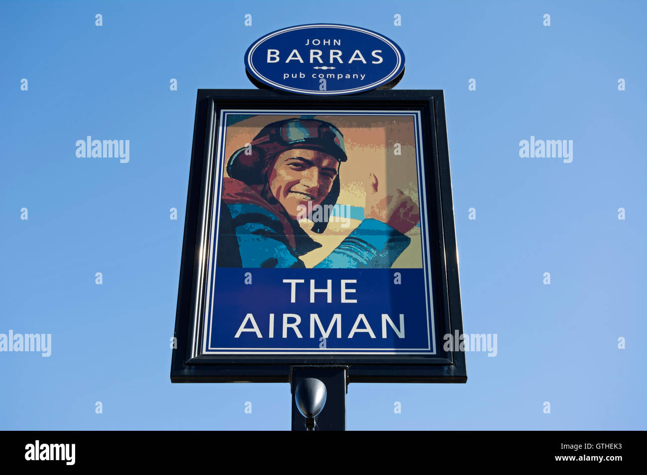 pub sign for the airman, near heathroww airport in feltham, middlesex, england - Stock Image
