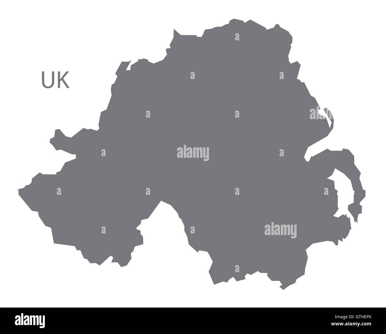 Northern Ireland map grey - Stock Image