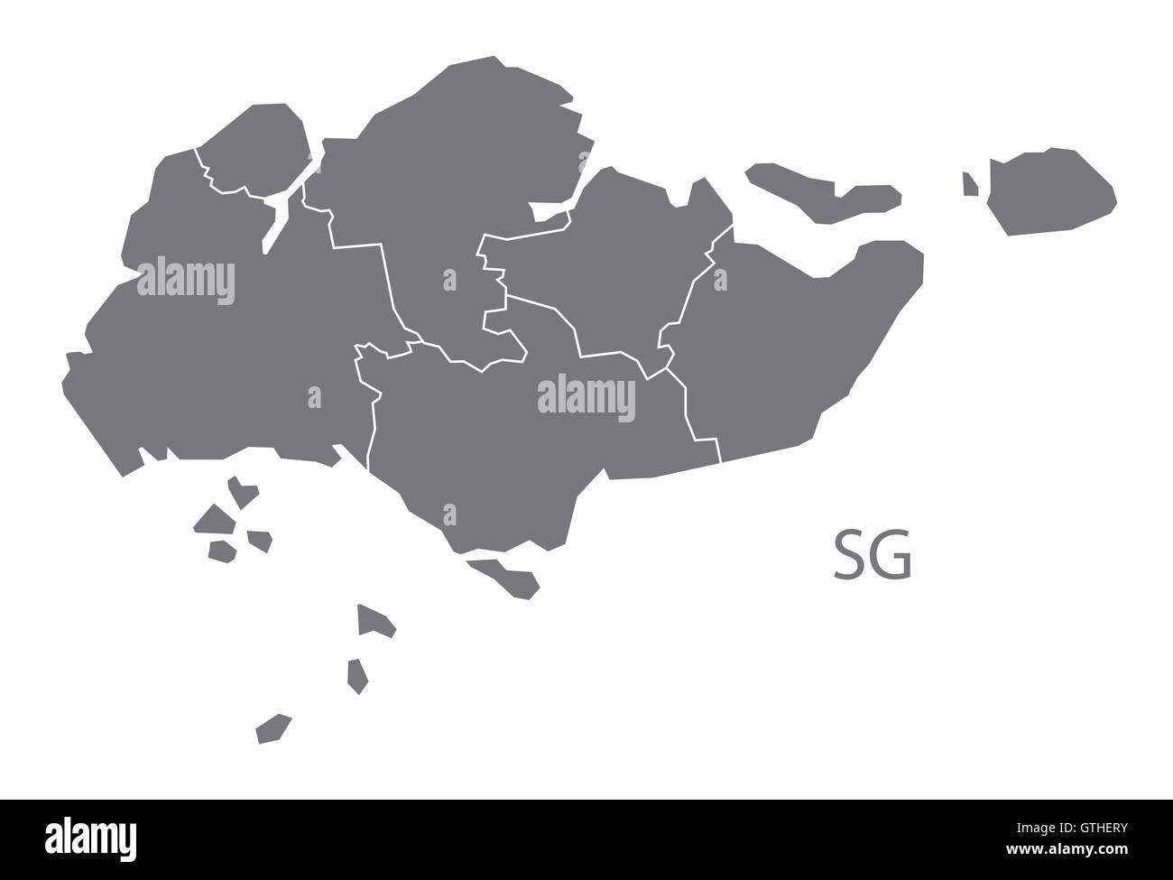 Singapore grey map vector Stock Vector Art & Illustration, Vector ...