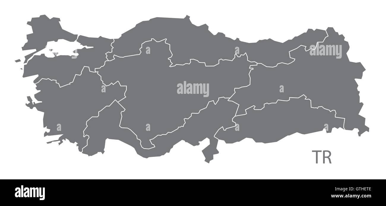 Turkey grey map vector Stock Vector Art & Illustration, Vector Image ...