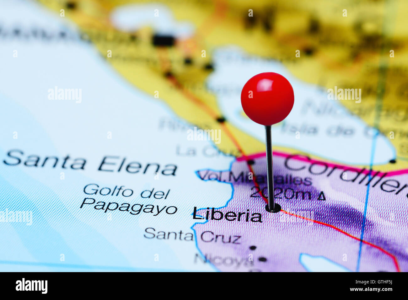 Liberia pinned on a map of Costa Rica - Stock Image