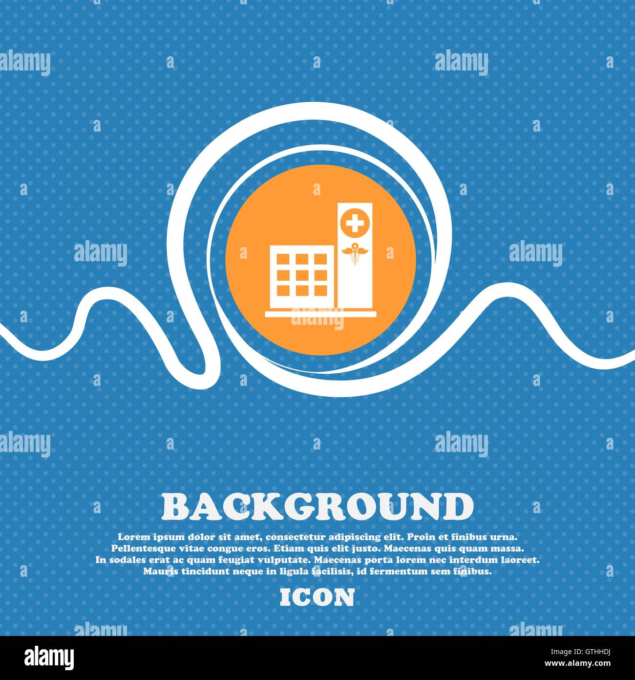 Hospital icon sign. Blue and white abstract background flecked with space for text and your design. Vector - Stock Image