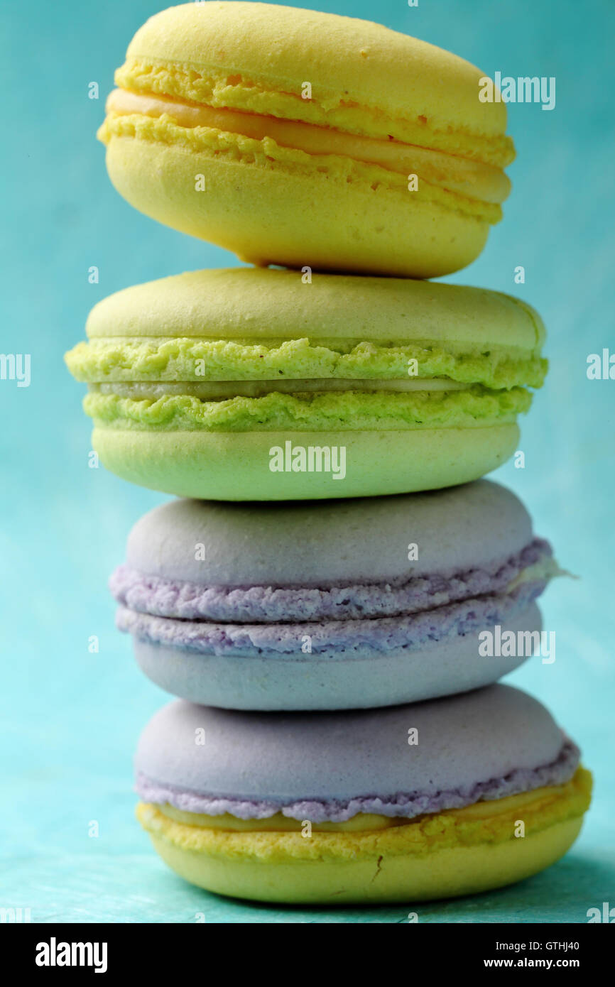 Color sweet french macaroons, food closeup - Stock Image