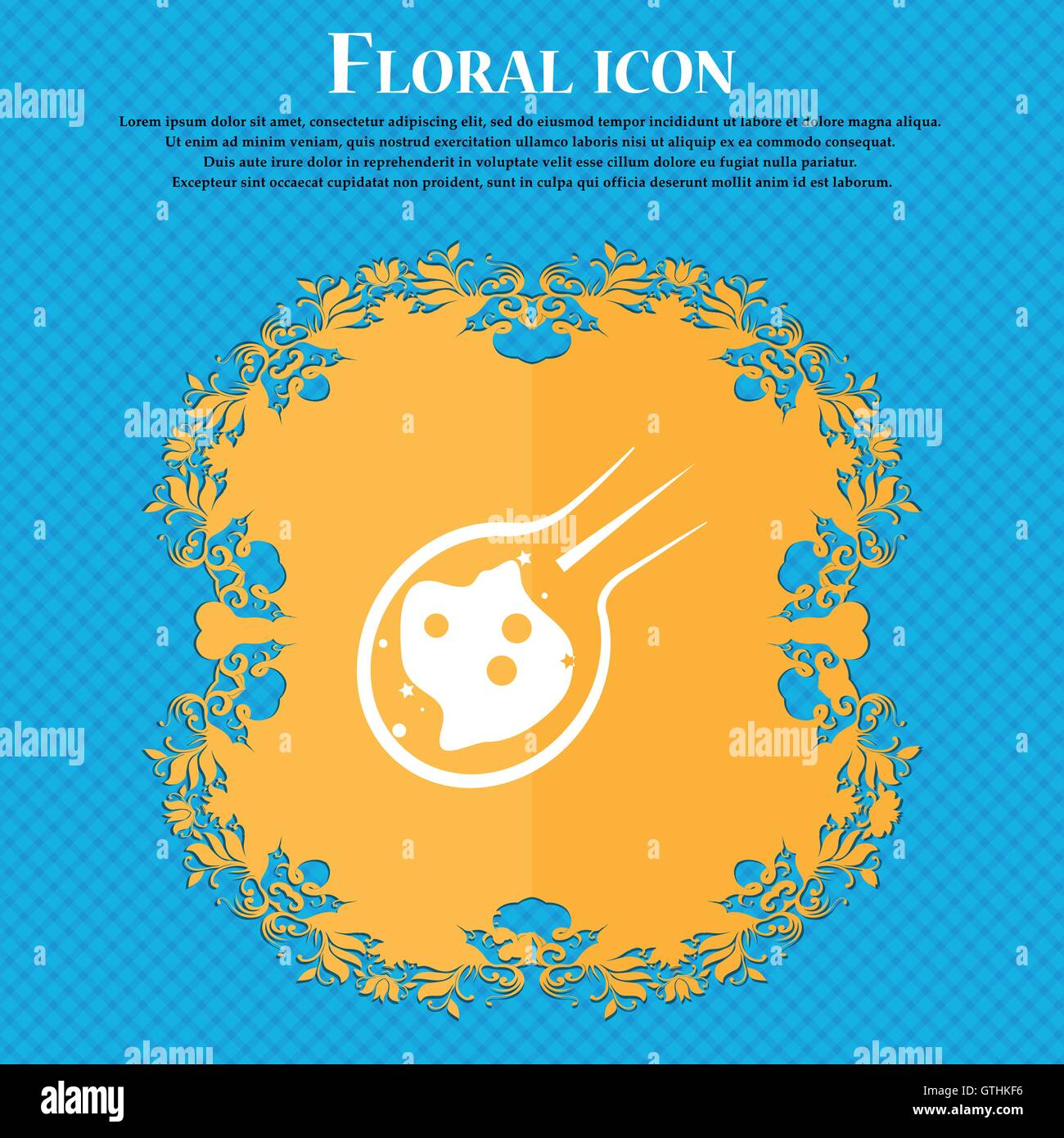 Flame meteorite icon icon. Floral flat design on a blue abstract background with place for your text. Vector - Stock Image