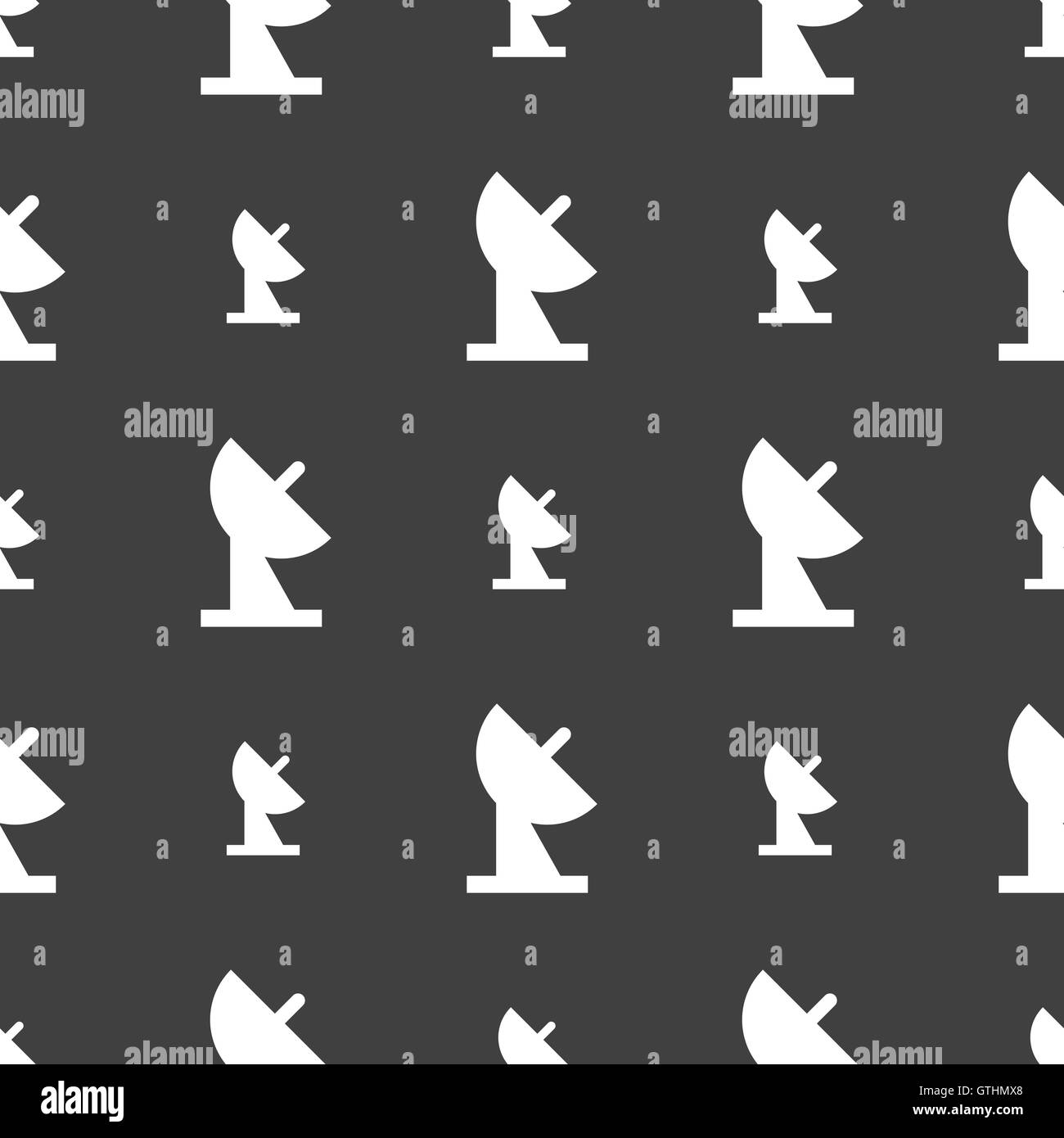 satellite dish icon sign. Seamless pattern on a gray background. Vector - Stock Image