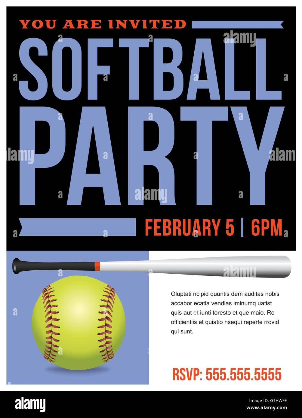 A flyer for a softball party invitation template. Vector EPS 10 available. Stock Vector