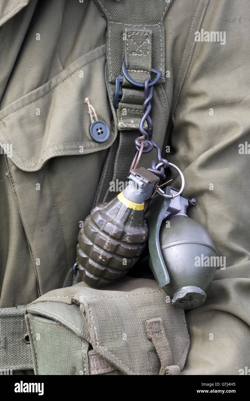 Hand grenades attached to a soldier - Stock Image