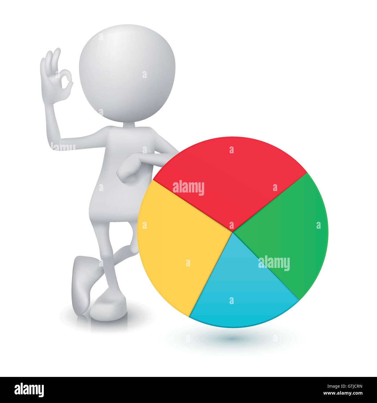 3d Man Showing Okay Hand Sign With The Pie Chart Stock Vector Art